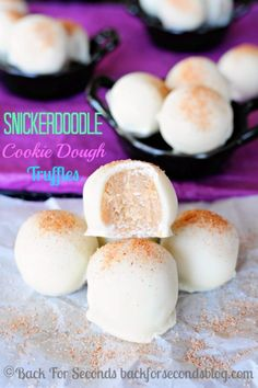 Snickerdoodle Cookie Dough Truffles - Egg free and ridiculously tasty! #eggfreecookiedough #cookiedough #snickerdoodles