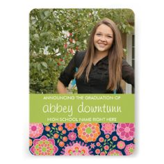 Girly Graduation Announcement Funky Floral Party