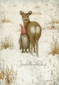 charming illustration by Lennart Helje  ♡ (Christmas Deer-io, gnome)