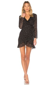 by the way. Rachel Wrap Dress em Black Star | REVOLVE