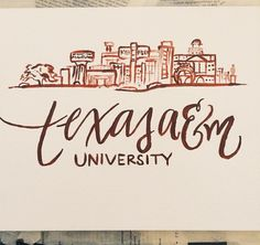 Texas A&M Skyline Calligraphy Print perfect by HandwrittenbyRachel