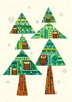 樹「初春」 Retro Color, Retro Art, Tree Illustration, Tree Designs, Illustrations And Posters, Love Art, Vintage Christmas, Illustrators, Drawings