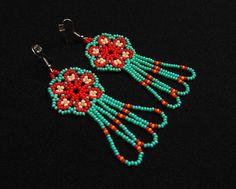 Seed Bead Jewelry, Seed Bead Earrings, Flower Earrings, Metal Jewelry, Women's Earrings, Seed Beads, Beaded Jewelry, Crochet Earrings, Boho Hippie