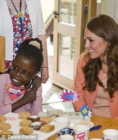 Blushing: Kate blushed as she was given a wedding anniversary present by the children but admitted William wasn't treating her to a special day