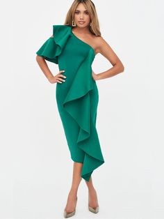 Ruffle Cold Shoulder Scuba Midi Dress in Green Scuba Dress, Peplum Dress, Mollie King, Lavish Alice, Green Midi Dress, High Leg Boots, Dress Outfits, Dresses, Vestidos