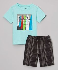 Look what I found on #zulily! Light Blue & Black Top & Shorts Set - Infant, Toddler & Boys #zulilyfinds