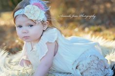Gorgeous ivory, cream, and vintage pink pearl feather flower headband on ivory lace band. - pinned by pin4etsy.com