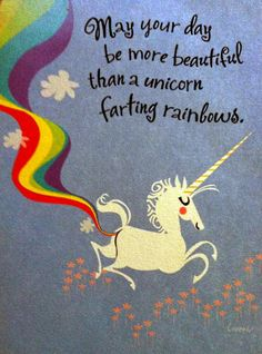 Unicorn farting rainbows!