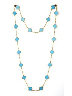 Van Cleef & Arpels - 18KY Turquoise Alhambra Necklace - at - London Jewelers