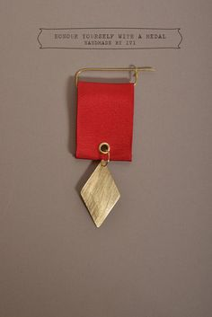 Bronze Medal Style Brooch Honour Yourself with Red by Muishop, €20.00