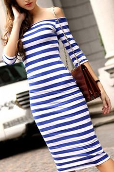 Blue Off-Shoulder Striped Half Sleeves Bodycon Dress