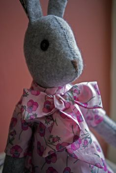 Luna Lapin in Liberty Print Tee Shirt Dress - kit available to buy at www.coolcrafting.co.uk Doll Toys, Dolls, Liberty Print, Printed Tees, Handmade Toys, Softies, Hare, Doll Clothes, Dinosaur Stuffed Animal