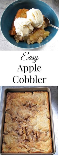 Easy Apple Cobbler Tastes just like the one grandma would make! Top it with vanilla ice cream for the best dessert! Weight Watcher Desserts, Köstliche Desserts, Delicious Desserts, Fall Recipes, Sweet Recipes, Recipes For Apples, Apple Recipes Easy, Apple Dessert Recipes, Quick Recipes