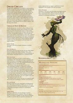 DnD Homebrew — Circle of Root & Branch and Circle of teh Spirit. Dungeons And Dragons 5e, Dungeons And Dragons Homebrew, Dungeons And Dragons Characters, Dnd Characters, Mythological Creatures, Fantasy Creatures, Mythical Creatures, Dnd Druid, Dnd Classes