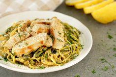 Gesunde Veggie-Nudel-Rezepte: Chicken Scampi Z& Tropical Jicama Slaw , Spiralizer Recipes, Pasta Recipes, Chicken Recipes, Noodle Recipes, Recipe Chicken, Veggie Noodles, Zucchini Noodles, Veggie Pasta, Carrot Noodles