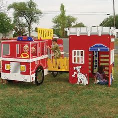 Tot Town Fire Engine House Combo by SportsPlay - School Playground Equipment - AAA State of Play THIS WOULD BE SOO FUN TO MAKE OUT OF CARDBOARD BOXES