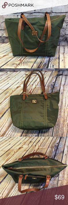 LAUREN RALPH LAUREN KHAKI GREEN NYLON TOTE BAG Super nice and roomy tote bag in excellent clean condition. 1 outside zip pocket 1 inside zip compartment and 1 snap compartment with the large Compartment in the middle. Trim is leather Lauren Ralph Lauren Bags Totes