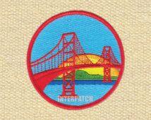 Sunset San Francisco Bridge America Embroidered Patch Badge Sew On Iron On Appliqué Transfer
