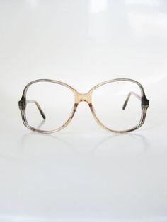 Oversized Vintage Eyeglasses 1970s Huge Glasses Womens Ladies Peach Pink Grey Fade 70s Seventies Retro Boho Chic Deadstock NOS