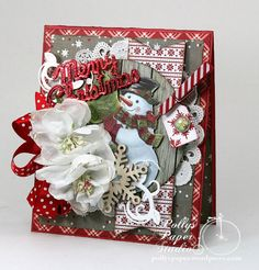 Merry Christmas Snowman Greeting Card Handmade by PollysPaper