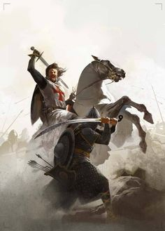 Templar on a horse in battle.