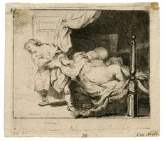 "Lot Rembrandt van Rijn (Dutch, ""Joseph and Potipher's Wife"" Etching; Undated, plate signed lower left, image depicting Joseph fleeing from the advances of Potipher's wife Rijn, Buy Art, Old Master, Painting, Wall Art For Sale, Art, Etching, Prints, Image Notes"