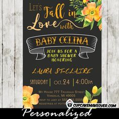 Floral peach fall baby shower invitation personalized themed fall in love elegant autumn themed baby shower invitation featuring a beautiful banner with a filmwisefo Choice Image