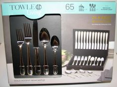 65 Piece Flatware Set with 24 Karat Gold Accent in Mahogany Chest - http://www.specialdaysgift.com/65-piece-flatware-set-with-24-karat-gold-accent-in-mahogany-chest/