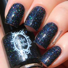 Inundation - a gorgeous black holographic microglitter indie nail polish!