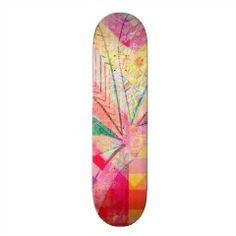 Vibrant Colorful Funky Abstract Girly Butterfly Ch Skate Decks | Skateboards for Girls