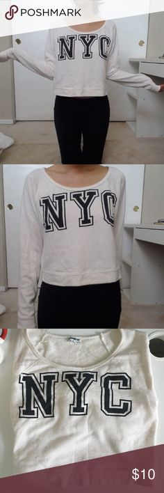 Express - comfy cropped NYC sweatshirt! Super comfy, would be ideal for workouts, material isn't super soft, only worn maybe 3-4 times, and slightly cropped, pairs well with leggings Express Sweaters Crew & Scoop Necks