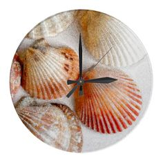 Artistic seashells on a wall home decor clock that gives your home a tropical beach feeling with color and style. Designed for the walls of any kitchen, dining area, bedroom or bathroom. Poster Store, Wall Clock Online, Cool Clocks, Wall Clock Design, Seashell Art, Clock Decor, Tropical Decor, Florida Home, Canvas Art Prints