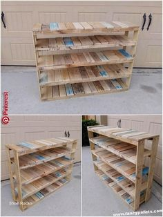 Wooden Pallet Furniture Shoe Rack Wooden Pallets - Get your best inventiveness with these 10 woodworking projects which are easy to build and profitable. Wooden Pallet Projects, Wooden Pallet Furniture, Pallet Crafts, Wooden Pallets, Diy Furniture, Wooden Diy, Wooden Shoe, Pallet Wood, Pallet Ideas