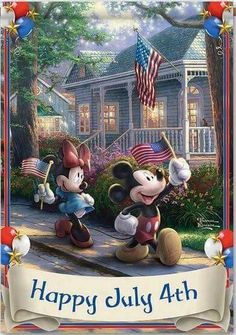 Disney's Mickey & Minnie Mouse Fourth Of July Independence Day Flag With Thomas Kinkade Art by The Hamilton Collection Mickey Mouse Cartoon, Mickey Mouse And Friends, Mickey Minnie Mouse, Minnie Mouse Pictures, Disney Pictures, Disney Love, Disney Magic, Walt Disney, Disney Family