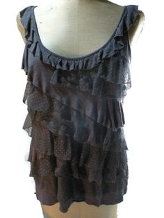 GRAY layered lace TANK TOP sz. LG sleeveless pullover 90% Rayon 10% Spandex grey #Vanity #PullOver #All