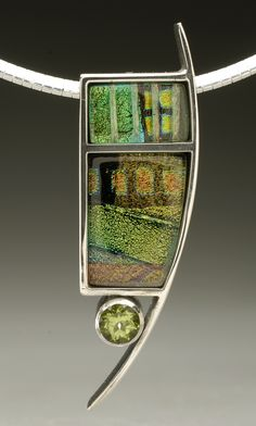 Sterling silver pendant, dichroic glass and peridot gemstone