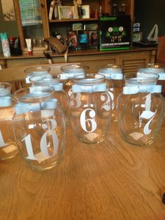 Christening centerpiece and table numbers