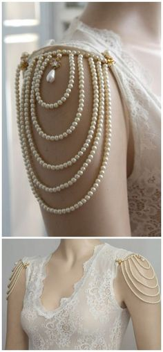 "BUY or DIY: Pearl Shoulder Epaulettes or Pearl Body Jewelry.Top Photos: BUY $250 Pearl Shoulder Epaulettes from the Etsy shop of MyLittleBride and Efrat Davidsohn Jewelry. The epaulettes clip on. Her other much more ornate necklaces, that cover the shoulders, are gorgeous and reminiscent of the Victorian era.Bottom Photo: DIY by Panda Hall, using brooches to hold the ""shoulder necklaces"" in place. I rarely look at anything on Panda Hall without researching where the DIY actually came from…"