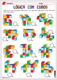 Con la siguiente fichaadaptamos la que publicamos ayer al alumnadomás pequeño para que ejerciten el espacio tridimensional en el plano. Para ello he preparado una ficha con cubos de colores, los cuales les indicamos que pesan un kilogramo cada uno y les pedimos que nos indiquen el peso de cada …