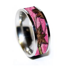 pink camo titanium wedding band for her