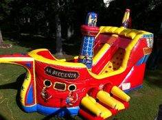 The Buccaneer Pirate Ship is AMAZING! This inflatable Pirate Ship is a no brainer for a Pirate Party. Available for rent in Metro Atlanta 770-529-0053 Available from ASTRO JUMP - ATLANTA