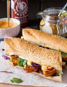 Try This---Tofu Bánh Mì (the vegetarian-friendly spin on the classic Vietnames. Try This—Tofu Bánh Mì (the vegetarian-friendly spin on the classic Vietnamese Sandwich ) Tofu Recipes, Vegetarian Recipes, Vegetarian Bahn Mi, Vegetarian Italian, Free Recipes, Vietnamese Sandwich, Vietnamese Food, Vegan Recipes, Bon Appetit