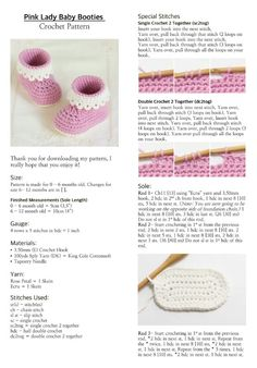 Hopeful Honey ~ Pink Lady Baby Booties - free crochet pattern instructions
