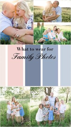 Family photos: what to wear? Blush and light blues see all our family photos through out my blog to inspire you're own color scheme Www.busymomblog.org
