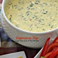 Jose Peppers Espinaca? Yes please!!! ~ Espinaca Dip is a fantastic queso dip with spinach, cream cheese, Ro-Tel tomatoes with chilies, velveeta and whipping cream. It is very smooth tasting with plenty of kick to it because of the diced jalapeno pepper.
