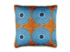 coussin wax orange et bleu