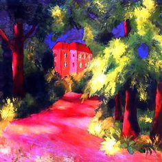 August Macke - Maison rouge dans un parc - 1914