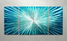 A futuristic looking 3-panel handmade metal wall art painting will inspire both science fiction fans and color enthusiasts alike. - Artist: Metal Artscape - Title: Hyperspace - Product type: Metal Wal