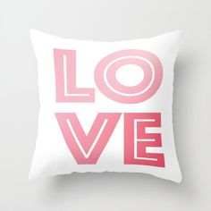 Love Pillow - Throw Pillow Cover Includes Pillow Insert - Sofa Pillow - Decorative Pillow - Pink and White - Made to Order (54.00 USD) by ShelleysCrochetOle