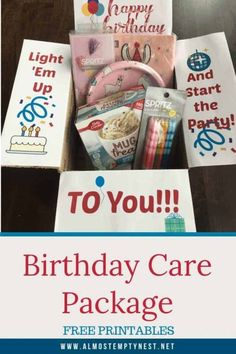 Birthday Care Package Ideas for College Students: Send them a birthday care package with free care package printables and suggestions for items to include. Birthday Box, Birthday Gifts, Birthday Ideas, Homemade Birthday, Friend Birthday, Creative Gifts, Cool Gifts, I Care Packages, Mailing Packages